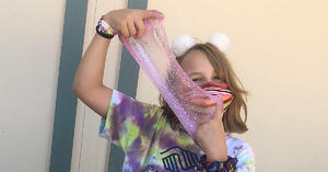 young girl with slime